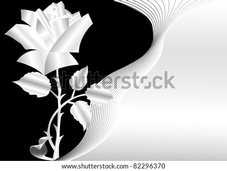 Floral Illustration With Silver Rose And Background
