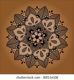 Floral Indian mandala, ornamental round lace