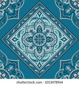Floral indian paisley pattern vector seamless. Vintage flower ethnic ornament for scarf bandana print fabric. Oriental folk design for kashmir shawl, gypsy clothing, boho blanket, yoga wallpaper.