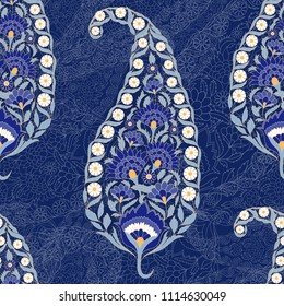 Floral indian paisley pattern vector seamless. Vintage flower ethnic ornament for indonesia batik sarong fabric. Oriental design for classic bedroom textile, yoga wallpaper, india luxury wedding.