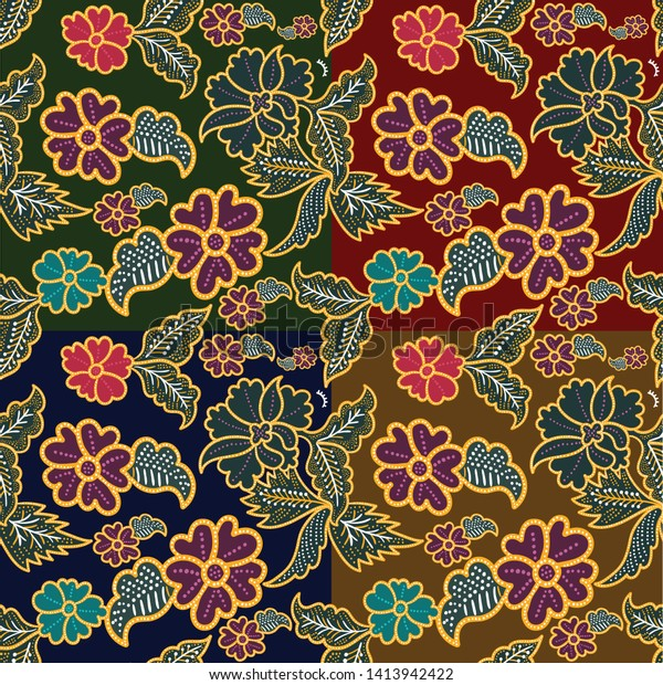 Floral Indonesia Batik Pattern Different Background Stock