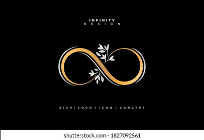Floral infinity logo, floral infinite symbolic, floral infinity design, elegance infinity gold and silver with minimal floral for wedding, fashion, jewelry, boutique and creative templates any company