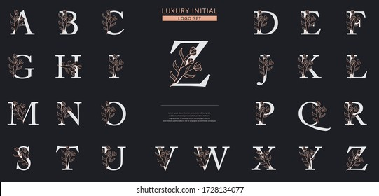 Floral initial letter logo template