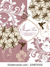 floral invitation card with flowers,birds and butterfly