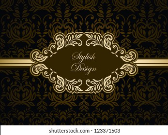 Floral invitation card with seamless wallpaper