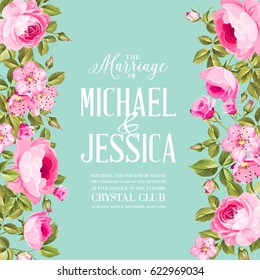 Floral invitation card. Invitation card template with blooming flowers and custom text isolated over blue. Pink flowers on the blue background. Vector illustration.
