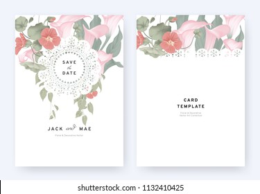Floral invitation card template design, pink calla lily, red Tropaeolum flowers and leaves with lace frame on white background, pastel vintage theme