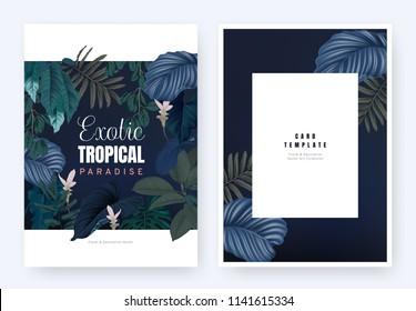 Floral invitation card template design, tropical plants and pink Curcuma alismatifolia flowers on dark blue background