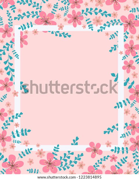 Floral Invitation Card Template Design Cherry Stock Vector Royalty