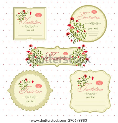 Floral Invitation Cards Event Vector Image Stock Vector Royalty