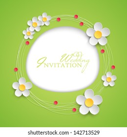 Floral invitation design with paper daisy flowers. Vector illustration