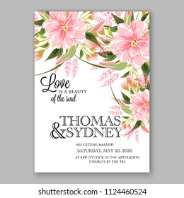 Floral japanese pink sakura wedding invitation vector printable card/ Bridal shower bouquet wreath apple bloossom