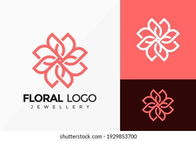 Floral Jewellery Logo Vector Design. Abstract emblem, designs concept, logos, logotype element for template.