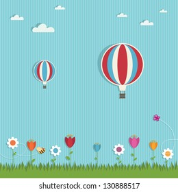 floral landscape with hot air balloons, eps 10 file with transparencies