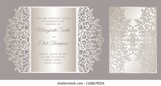 Floral laser cut card design.. Gate fold wedding invitation envelope