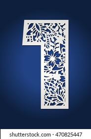 Floral laser cut letter number one with botanical pattern. Secret garden wedding decoration number 1. Fancy alphabet figures with spring ornament.