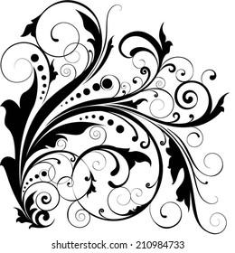 Floral leaf dot swirl design
