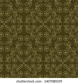 Floral leaf motif running stitch style. Victorian needlework seamless vector pattern. Hand stitch ornamental brocade textile print. Old green antique handicraft home decor. Embroidery quilt template.