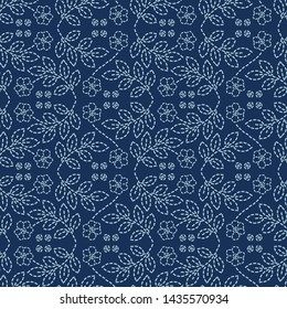 Floral leaf motif sashiko style japanese needlework pattern. Hand stitch indigo blue line texture textile print. Classic Japan decor, Asian backdrop. Simple kimono quilting template. Seamless vector