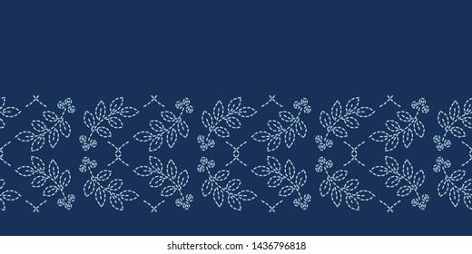 Floral leaf motif sashiko style japanese needlework border pattern. Hand stitch indigo blue line ribbon banner. Classic Japan decor. Asian washi tape. Simple kimono quilting template. Seamless vector