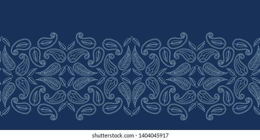 Floral leaf paisley motif sashiko style. Japanese needlework seamless border vector pattern. Hand stitch indigo blue boteh foulard ribbon trim. Classic japan decor. Embroidery kimono quilt template.