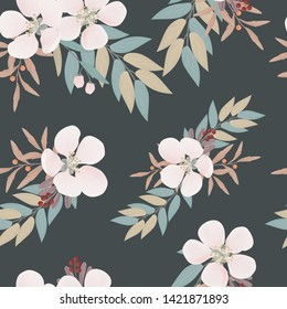 Floral and leaf seamless pattern. Repeat pattern with flower decoration. Great for fabric, print, wallpaper, surface design.