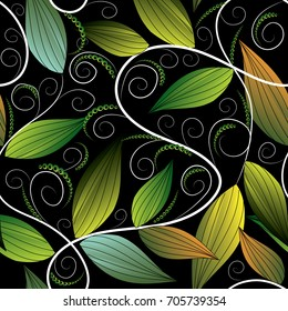 Floral leafy greens hand drawn seamless pattern. Repeating flourish black background wallpaper illustration with vintage green 3d leaves, white swirl lines, dotes. Vector surface ornamental texture