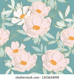Floral and leaves seamless pattern background