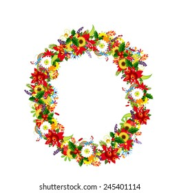Floral letter O for your design, vector illustration