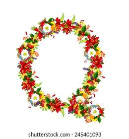 Floral letter Q for your design, vector illustration
