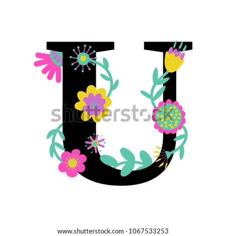 Floral Letter U Serif Illustrated Effect Stock Vector Royalty Free
