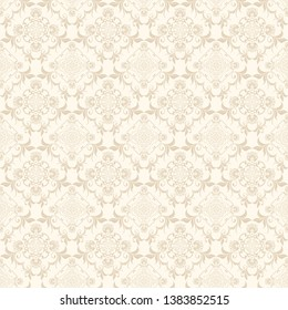 Floral light brown ornament on a cream background. Cute seamless floral pattern. Background design. Vintage vector wallpaper