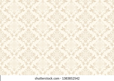 Floral light brown ornament on a cream background. Trendy wallpaper, great design for any purposes. Seamless wallpaper pattern. Cute vector illustration