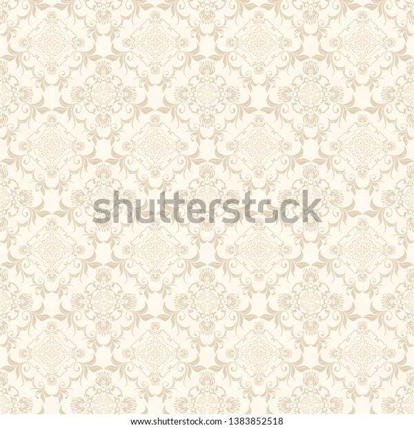 Floral Light Brown Ornament On Cream Backgrounds Textures