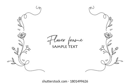 Floral line drawing picture frame vector illustration material
