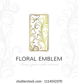 Floral linear emblem. Vector elegant design element for jewelry shop, beauty, spa or wedding salon and fashion or floristic industry.