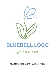Floral linear icon. Bluebell flower logo template. Logotype concept for a spa, beauty salon, or fashion boutique. Vector design element isolated on white background.