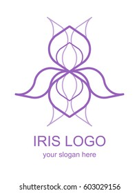 Floral linear icon. Iris flower lineart logo. Thin line logotype for a spa, wellness center, massage or beauty salon. Vector design element in monoline style isolated on white background.