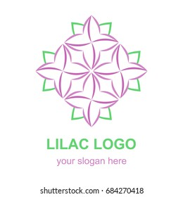 Floral linear icon. Violet lilac flower logo template. Logotype concept for a spa, beauty salon, or fashion boutique. Vector design element isolated on white background.