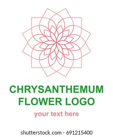 Floral linear icon.Chrysanthemum flower lineart logo. Thin line logotype for a spa, wellness center, massage or beauty salon. Vector design element in monoline style isolated on white background.