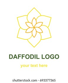 Floral linear icon.Daffodil flower lineart logo. Thin line logotype for a spa, wellness center, massage or beauty salon, florist shop. Monoline vector design element isolated on white background.