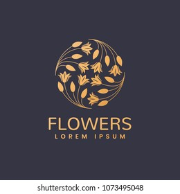 Floral logo. Leafs icon. Floral icon. Cosmetics, Spa, Beauty salon, Decoration, Boutique logo. Luxury, Business, Royal Jewelry, Hotel Logo. Interior emblem. Resort and Restaurant Logo.