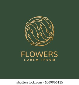 Floral logo. Leafs icon. Floral emblem. Cosmetics, Spa, Beauty salon, Decoration, Boutique logo. Luxury, Business, Royal Jewelry, Hotel Logo. Interior Icon. Resort and Restaurant Logo.