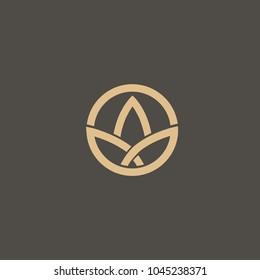 Floral logo. Lotos wedding icon. Luxury retro emblem. Cosmetics, Spa, Beauty salon, Decoration, Boutique vector logo. Royal Jewelry, Hotel, Premium Logo. Resort and Restaurant design illustration.