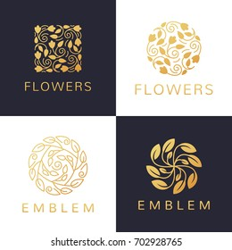 Floral logo set. Flower icon. Floral emblem. Cosmetics, Spa, Beauty salon, Decoration, Boutique logo. Luxury, Business, Royal Jewelry, Hotel Logo. Interior Icon. Resort and Restaurant Logo.