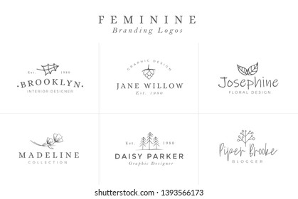 Floral logo templates. Vector minimalist logos. Rustic elegant logotypes - Vector