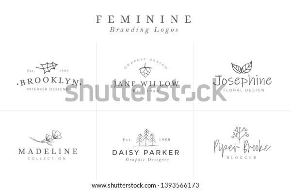Floral Logo Templates Vector Minimalist Logos Stock Vector Royalty Free 1393566173