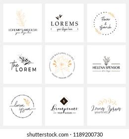 Floral logo templates. Vector minimalistic logos. Rustic elegant logotypes