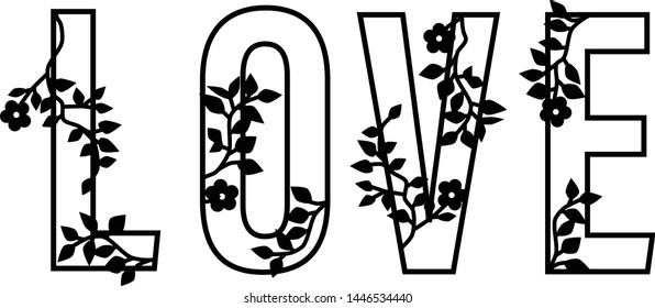 Floral Love Decorative Typography Hand Lettering