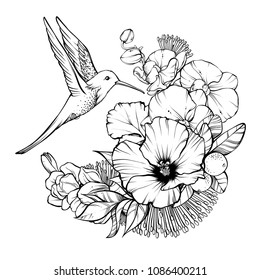 Floral magic symbolic art in boho style. Black and white vector Illustration. Composition bouquet with tropical exotic flowers and humming bird. Spirituality design element for invitation, tattoo